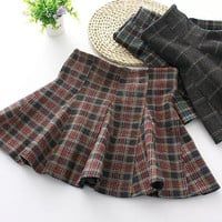 Plaid Print Woolen Elastic High Waist Skirts