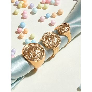 3pcs Coin Decor Ring