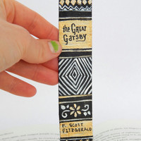 Hand Painted Bookmark // The Great Gatsby Classic Hardcover // Book Spine Bookmark // F. Scott Fitzgerald // Gift for Readers