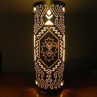 AZTEC and NATIVE AMERICAN inspired lamp painted copper and silver Unique lamp Handmade by GlowingArt