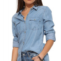 Washed Blue Denim Double Pocket Blouse