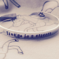 time to  be a unicorn 1/4 inch wide aluminum bracelet