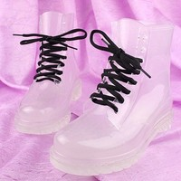 Women's Flat Candy Color Crystal Clear Rubber Rain Boots RainBoots Martin Boots