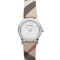 BurberrySmall Silver Check Strap Watch, 26mm