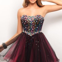 Embellished Strapless Sweetheart Dress by Blush by Alexia