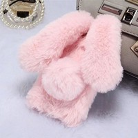 Rabbit Fur Hair Bunny Warm Furry Plush Phone Cover For Coque iPhone 8 Case For iPhone 8 Plus Case Luxury Rhinestone Diamond Case