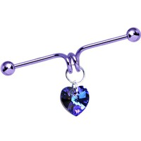 Purple Heart Dangle Industrial Barbell Made with Swarovski Crystals 40mm