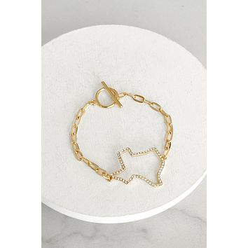 Texas pave chain bracelet in gold