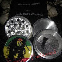 Bob Marley Rasta 4 Piece Grinder Herb Spice Aircraft Grade Aluminum C.N.C from Cognitive Fashioned