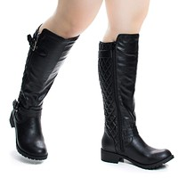 Tale by Soda, Women Fashion Equestrian Inspired Riding Biker Boots w Quilted Pattern