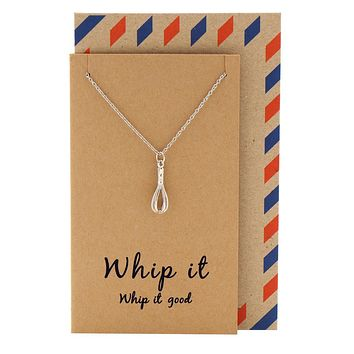 Nadja Whisk Necklace Gift for Bakers, Funny Greeting Card