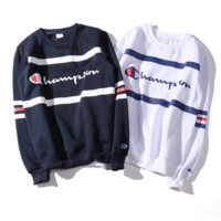 Champion Woman Men Fashion Embroidery Scoop Neck Top Sweater Pullover