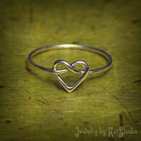 Knot Heart Ring - love knot ring - Infinity Heart - Sterling Silver 925 - 16 gauge - gift packing