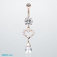 Rose Gold Darling Heart Belly Button Ring