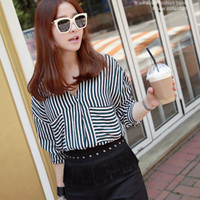 V-Neck Stripe Blouse with Patch Pockets - Miamasvin loves u! Womens Clothing. Korean Fashion.