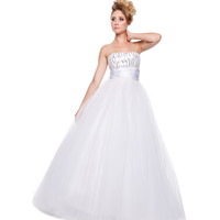 Prom Dresses - White Strapless Full Tulle Gown