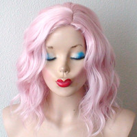 Beach wavy hairstyle wig. Pastel light pink color wig. Short pink hair wig. Pink wig. Baby pink curly hair long side bangs wig