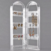 New 120 Holes Clear Plastic Earring Jewelry Show Display Stand Holder Rack