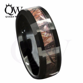 Queenwish 6mm/8mm Black Tungsten Wedding Bands Men's Red Forest Camouflage Camo Hunting Engagement Rings Size 6-13