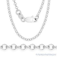 Sterling Silver Rhodium 1.9mm Open Rolo Circle Cable Link Chain Italian Necklace