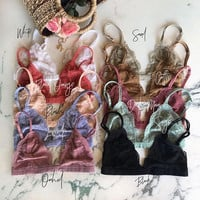 Floral LACE BRALETTE lacy Triangle Bra Bras Bustier crop top unpadded Mesh Lined lace scallop triangle bralette