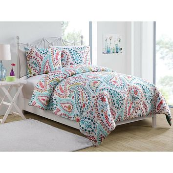 2-Piece Floral Paisley Twin Comforter and Sham Bedding Set, Aqua Blue Red Green