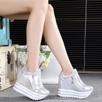 Women Sneakers 2018 Spring Autumn High Heels Ladies Casual Shoes Women Wedges platform shoes Female Thick Bottom Trainers