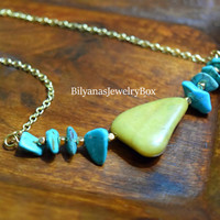 Olive Jade Bar Necklace - Turquoise Bar Necklace - Layering Necklace - Olive Necklace - Bar Gemstone Necklace - Beaded Bar Necklace