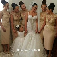 Champagne Bridesmaid Dresses 2017 Brautjungfernkleid Sexy High Neck Sequin Decals Short Bridesmaid Dresses Fast Shipping
