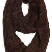 DRY77 Solid Color Knitted Infinity Loop Scarf, Brown