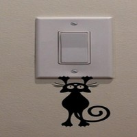 Cat/Kitten Hanging From Light Vinyl Switch Sticker