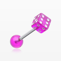 Dice Acrylic Top Barbell Tongue Ring