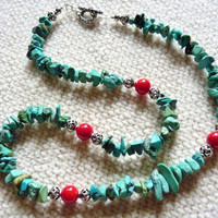 Southwestern Natural Turquoise Chip and Coral Sterling Necklace