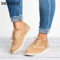 MCCKLE Plus Size Women Flat Hollow Platform Shoes Oxfords British Style Ladies Creepers Brogue Shoe For Female Lace Up Footwear