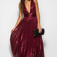 LOW CUT SEQUIN MAXI DRESS WITH CRISSCROSS OPEN BACK Pre-Order