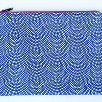 Fun Dots Fan Design Zipper Pouch With Navy Lining
