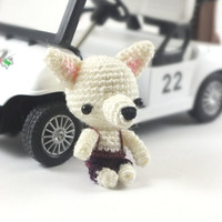 Miniature White Chihuahua Amigurumi Crochet Doll Cell Phone Charm.