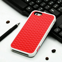 Vans Off The Wall Shoes Sole Soft Rubber Silicone Red With White Cover Case For iPhone 6/6s