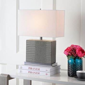 Safavieh Lighting 20.5-inch Delia Faux Alligator Grey Table Lamp | Overstock.com Shopping - The Best Deals on Table Lamps