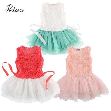 2-7Years Baby Girls Clothing Dress sleeveless o-neck Toddlers Lace Rose Flower Princess Pageant Birthday Wedding Dress
