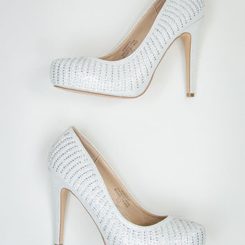 Glam Pumps in White Pearl
