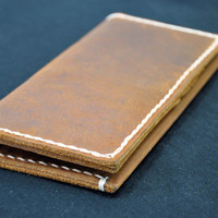 Distressed Leather Billfold Wallet - Mens Womens Wallets -- No More Folding Money