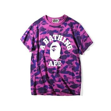 BAPE trend fashion personality camouflage round neck short-sleeved T-shirt F-A-KSFZ Purple