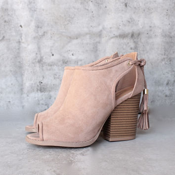 alice tassel lace tie block heeled booties - taupe