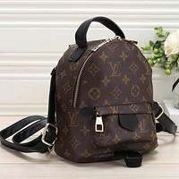 Louis Vuitton LV Women Fashion Leather Backpack Daypack Bookbag