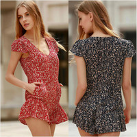 Autumn Slim Floral Print Ruffle Sleeveless Ladies Sexy With Pocket Jumpsuit [5024195844]