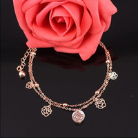 New Sexy Chain Link Beach Anklets Pendant Crystal Rhinestone Ankle Bracelet Foot Jewelry For Women Anklets Foot