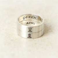 Horizontal King and Queen Ring in sterling silver,Couples Ring--Custom Personalized Ring, Chess Piece