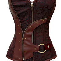 Brown Brocade Steampunk Corset LC5313 = 1929638724