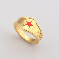 Gold Color Superhero Wonder Woman Rings for Women Fashion Movie Jewelry Bague Red Enamel Star Rings Bijoux